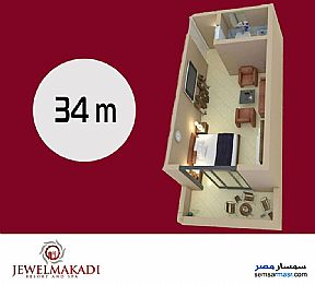 Apartment 1 bedroom 1 bath 34 sqm super lux For Sale Hurghada Red Sea - 3