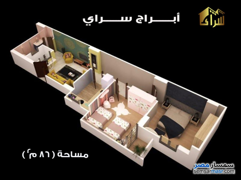 Photo 2 - Apartment 2 bedrooms 1 bath 86 sqm semi finished For Sale Minya City Minya