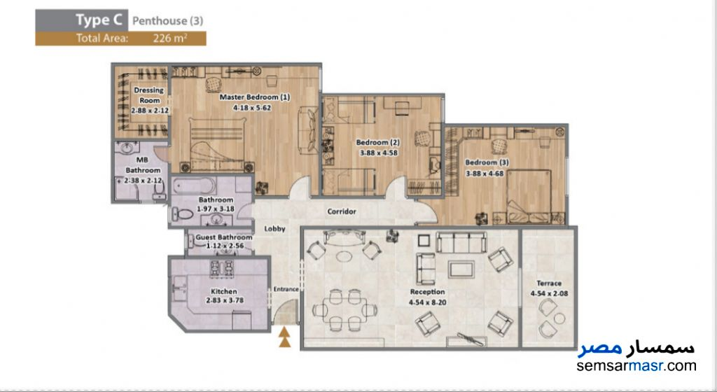 Photo 3 - Apartment 3 bedrooms 4 baths 226 sqm extra super lux For Sale North Extensions 6th of October