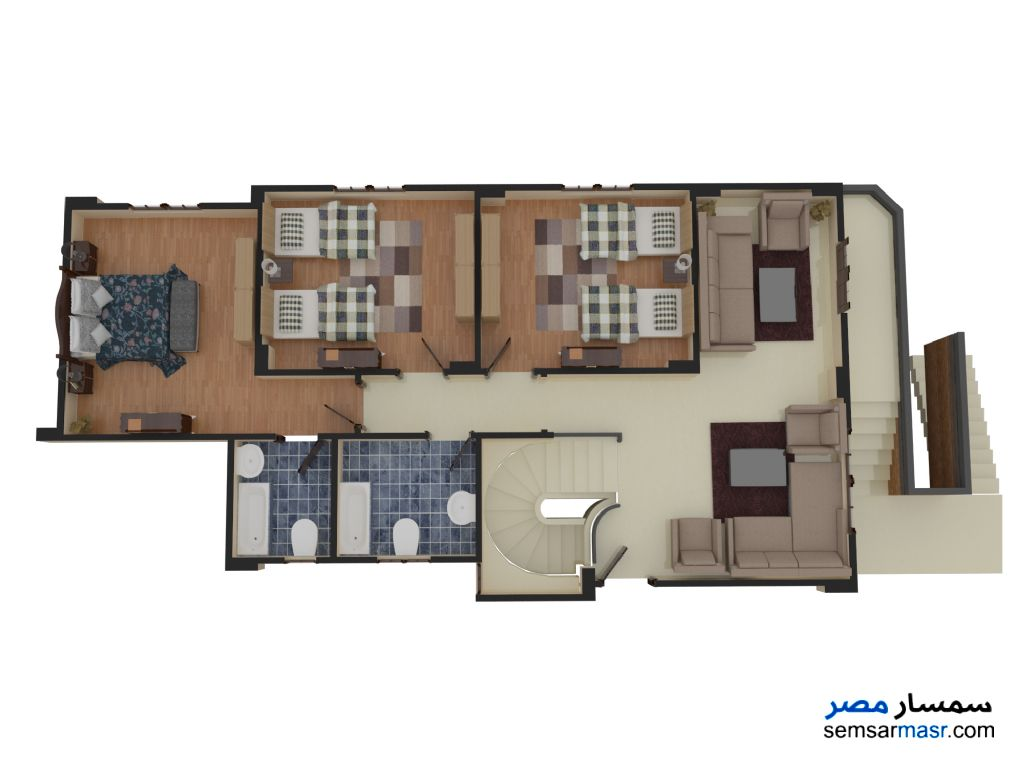 Photo 4 - Villa 4 bedrooms 3 baths 299 sqm semi finished For Sale Mukhabarat Land 6th of October