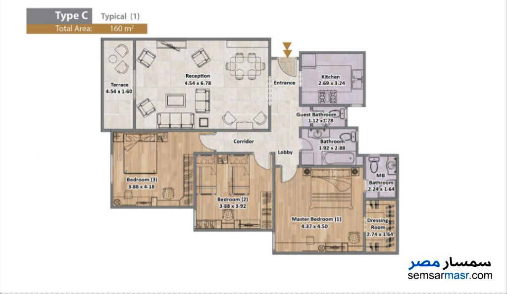 Photo 6 - Apartment 3 bedrooms 3 baths 160 sqm extra super lux For Sale North Extensions 6th of October