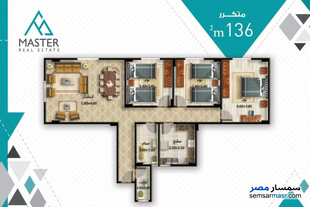Photo 2 - 3 bedrooms 3 baths 189 sqm semi finished For Sale Fifth Settlement Cairo