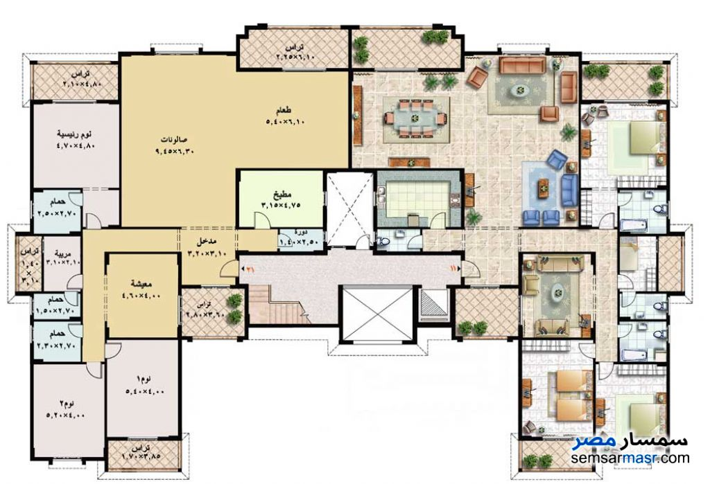 Photo 2 - Apartment 4 bedrooms 4 baths 305 sqm extra super lux For Rent Rehab City Cairo