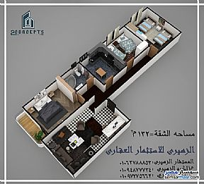 Ad Photo: Apartment 3 bedrooms 1 bath 142 sqm without finish in Sadat  Minufiyah