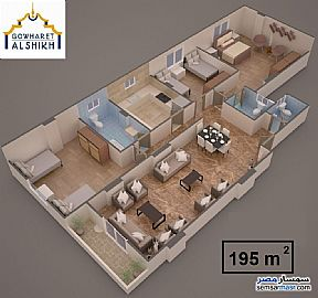 Apartment 3 bedrooms 3 baths 195 sqm semi finished