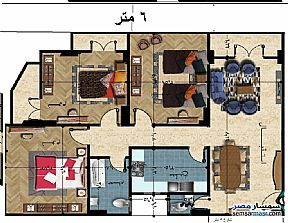 Ad Photo: Apartment 3 bedrooms 1 bath 127 sqm semi finished in Tanta  Gharbiyah