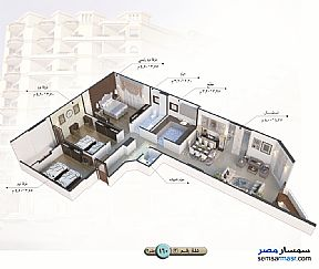 Apartment 3 bedrooms 1 bath 140 sqm semi finished For Sale Talkha Daqahliyah - 9