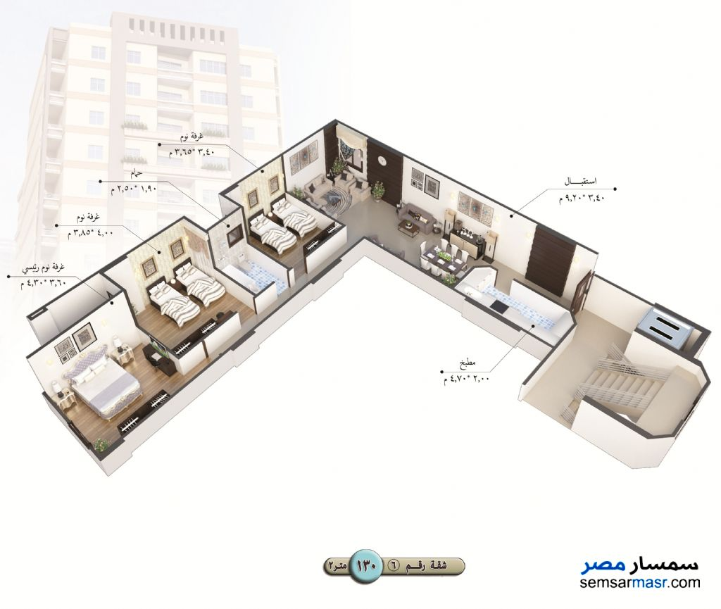 Photo 12 - Apartment 3 bedrooms 1 bath 140 sqm semi finished For Sale Talkha Daqahliyah